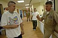 US Navy 091006-N-9818V-219 Master Chief Petty Officer of the Navy (MCPON) Rick West meets with U.S. Army Sgt. 1st Class Mattew Lane.jpg