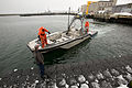 US Navy 100216-N-2606A-002 Sonar Technician (Surface) 2nd Class Brad Goss and Sonar Technician (Surface) 1st Class Anthony Craig perate an unmanned surface vehicle.jpg