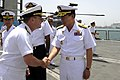 US Navy 100421-N-8959T-005 Vice Adm. Bill Gortney, commander of Combined Maritime Forces and U.S. Naval Forces Central Command, greets Korean navy Rear Adm. Lee Beom-Rim.jpg
