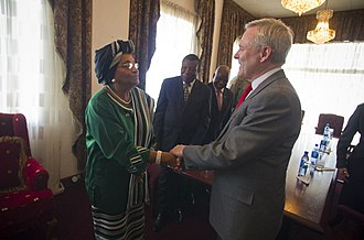 Ministry of Foreign Affairs (Liberia) - U.S. Secretary of the Navy Ray Mabus meets with Liberian President Ellen Johnson-Sirleaf at the Ministry of Foreign Affairs headquarters in Monrovia