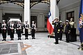US Navy 110805-N-ZB612-042 Chief of Naval Operations (CNO) Adm. Gary Roughead renders honors during a welcoming ceremony to the Chilean naval headq.jpg