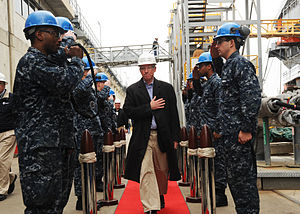 US Navy 120210-N-ED185-003 Sideboys render honors to U.S. Rep. Joseph Courtney as he arrives to tour the aircraft carrier USS Theodore Roosevelt (C.jpg