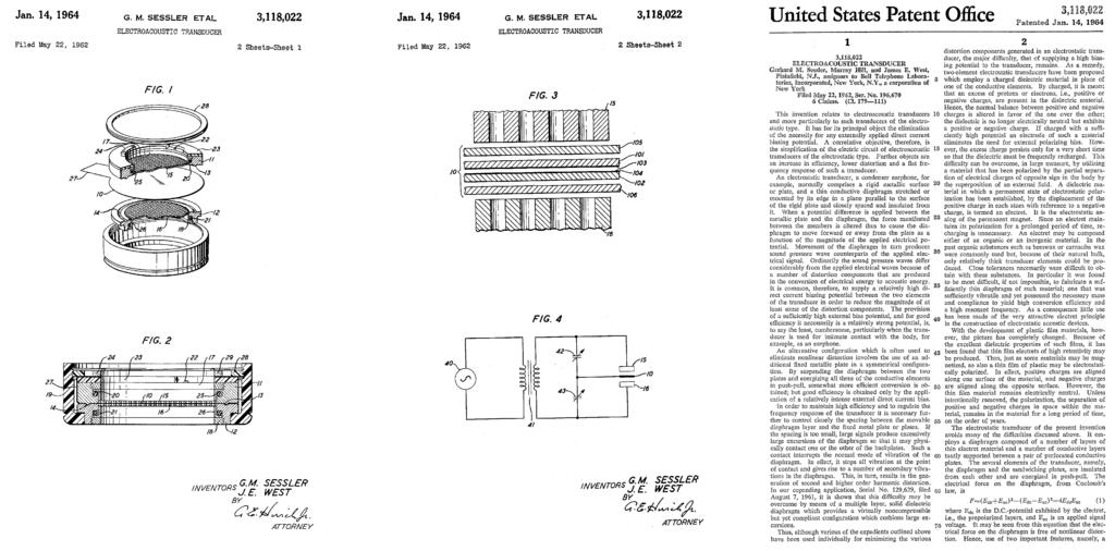 US Patent 3118022 - Gerhard M. Sessler James E. West - Bell labs - electroacustic transducer - foil electret condenser microphone 1962 1964 - pages 1-3