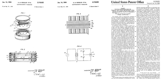 First patent on foil electret microphone by G. M. Sessler and J. E. West (pages 1 to 3) US Patent 3118022 - Gerhard M. Sessler James E. West - Bell labs - electroacustic transducer - foil electret condenser microphone 1962 1964 - pages 1-3.png