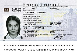 Ukrainian passport - Image: Ukrainian biometric passport data page
