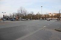 Ungefährer Standort der Knochenhauerpforte, Kreuzungsbereich Rathausstraße, Süderhofenden, Norderhofenden, in Richtung Bahndamm (Flensburg 2014).JPG