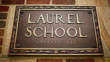 photograph of plaque affixed to Laurel School's Lyman Campus building