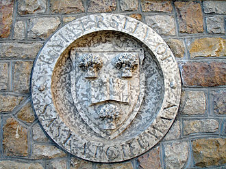 Tyndall stone - This carved Tyndall Stone crest on the University of Saskatchewan campus shows the stone's characteristic mottling.