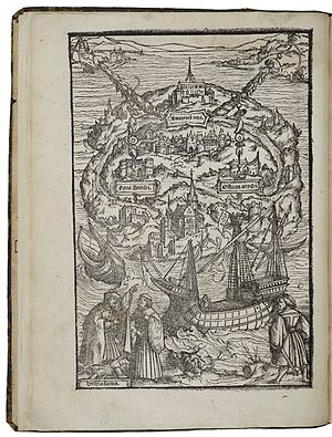 Utopia (book) - A woodcut by Ambrosius Holbein, illustrating a 1518 edition. In the lower left, Raphael describes the island Utopia.