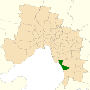 Electoral district of Mordialloc - Location of Mordialloc (dark green) in Greater Melbourne