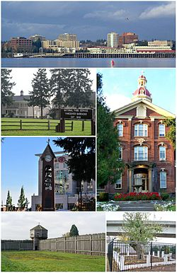 Clockwise from top: skyline of Vancouver viewed from the Oregon side of the Columbia River; House of Providence; Old Apple Tree Park; Fort Vancouver; Esther Short Park; Vancouver Barracks