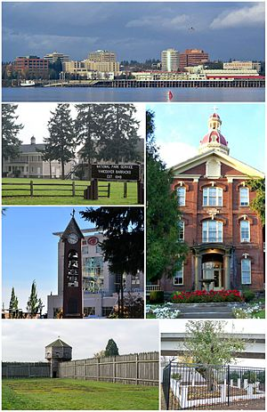 Vancouver, Washington - Clockwise from top: skyline of Vancouver viewed from the Oregon side of the Columbia River; House of Providence; Old Apple Tree Park; Fort Vancouver; Esther Short Park; Vancouver Barracks