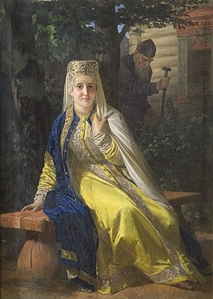 Tsarina - One of the young wives of Ivan the Terrible. Painting by Nikolai Nevrev, 19th century