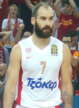 Vassilis Spanoulis - Spanoulis in action with Olympiacos, in EuroLeague, in 2013.
