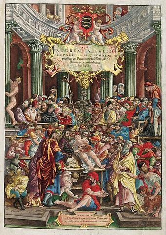 Раскрашенный от руки титульный лист трактата «О строении человеческого тела» Везалия, 1543