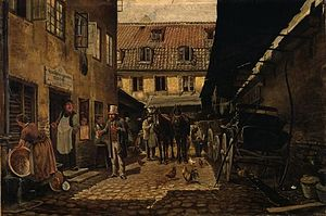 """Vestergade - The courtyard of the inn """"The Rose"""" at No. 4, painting by Theodor Philipsen"""