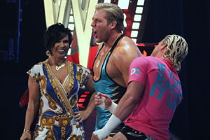 Jack Swagger - Swagger and Dolph Ziggler (right) being managed by Vickie Guerrero in 2012