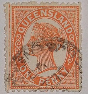 Forerunner (stamp) - This stamp from the Australian state of Queensland is a forerunner to the stamps of modern Australia.