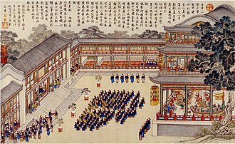 Modern history - The Qing Chinese celebrate a victory over the Kingdom of Tungning in Taiwan. Painting was a collaboration between Chinese and European painters, 1788.