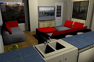Sweet Home 3D - Image: View from kitchen