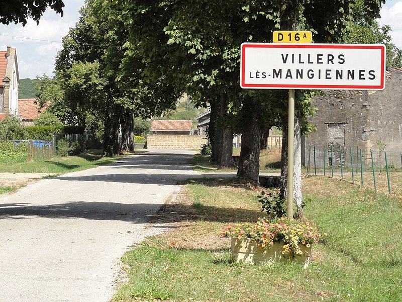 Villers-lès-Mangiennes (Meuse) city limit sign