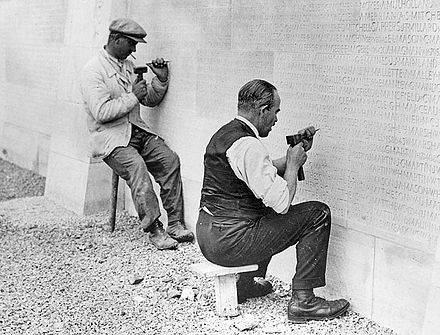 Carving the names into the Canadian National Vimy Memorial Vimy Memorial - carving of names.jpg