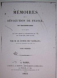 Mémoires sur la Révolution de France et recherches sur les causes qui ont amené la Révolution de 1789 et celles qui l'ont suivie