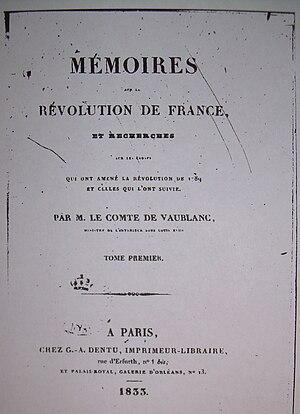 Vincent-Marie Viénot, Count of Vaublanc - Image: Vincent Marie de Vaublanc, Mémoires, frontispice