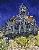 A grey church against a deep blue sky. There are two paths, one on each side of the church. On the path to the viewer's left, a woman dressed in a bonnet walks away with her back to us.