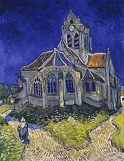 Vincent van Gogh painting The Church at Auvers from 1890 gray church against blue sky