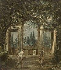 Vista del jardín de la Villa Medici de Roma con la estatua de Ariadna, por Diego Velázquez.jpg