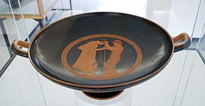 Brygos cup of Würzburg - Interior with vomiting scene
