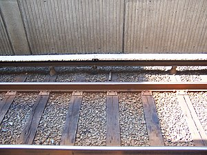 Third rail - Third rail at the West Falls Church Metro station near Washington, D.C., electrified at 750 volts. The third rail is at the top of the image, with a white canopy above it. The two lower rails are the ordinary running rails; current from the third rail returns to the power station through these.