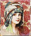 W Laparra Tête de jeune fille au turban vert.jpg