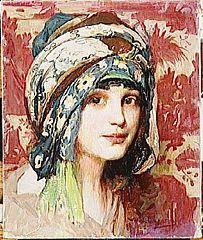 Tête de jeune fille au turban vert