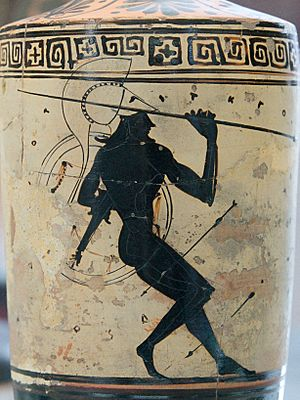 Athena Painter - Warrior with shield and spear in a hail of arrows, white-ground lekythos with black-figure scene, circa 475/550 BCE, Paris: Cabinet des médailles.