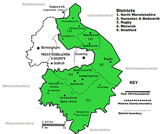 The ancient county boundaries of Warwickshire cover a larger area than the administrative area in 1974 (in green). Warwickshiremap 700.jpg