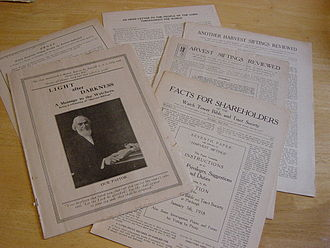 Watch Tower Society presidency dispute (1917) - Pamphlets published by opposing sides during the dispute over Rutherford's leadership, 1917.