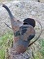 "Watering can (""vannkanne hagesprøyte"") Small, old, rusty metal, shaped as an elephant's head Tjøme, Norway 2020-04-26 7122.jpg"