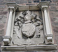 Weathered crest over doorway, Coningsby Hospital - geograph.org.uk - 1002472.jpg