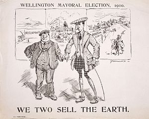 Wellington City mayoral election, 1910 - Cartoon of the mayoral race