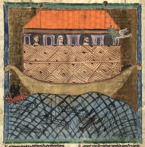 Image of Noah's Ark atop Ararat from The Nuremberg Chronicle (Die Schedelsche Weltchronik or Liber Chronicarum). The 14th century drawing makes the Ark look at least twice as tall as Ararat. A rather large dove brings an olive branch to the folks waiting on deck. Image courtesy Hochschul- und Landesbibliothek Fulda via Wikimedia Commons.