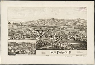 Randolph, Vermont - Print of West Randolph from 1886 by L.R. Burleigh with listing of landmarks