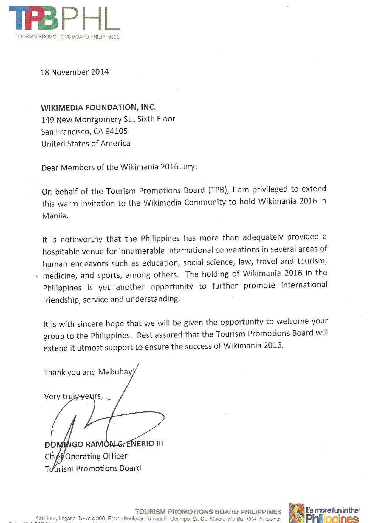filewikimania manila 2016 endorsement letter tourism