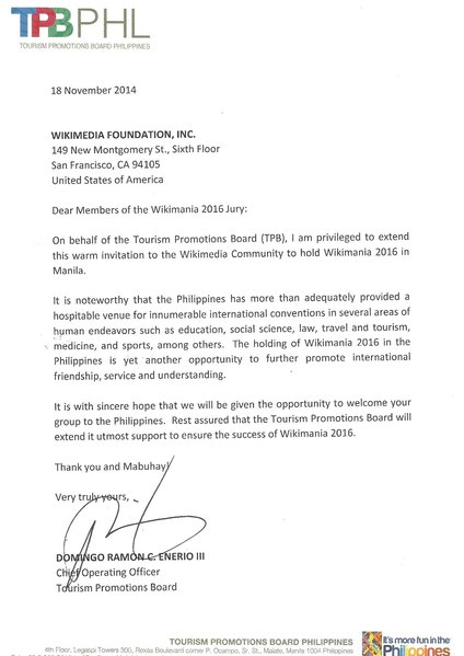 FileWikimania Manila  Endorsement Letter  Tourism Promotions