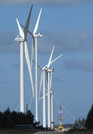Østerild Wind Turbine Test Field - Some of the 7 turbines. The distance between them is about ½ mile.