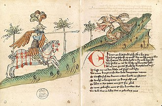 Ortnit - Wolfdietrich attacking the dragons on the first page of Ortnit. From Heidelberg, Universitätsbiblothek, Cpg 365, folios 1v and 2r.