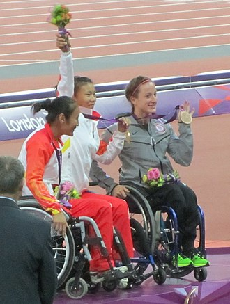 Athletics at the 2012 Summer Paralympics – Women's 100 metres T54 - Image: Women's 100m T54 Victory Ceremony (cropped)