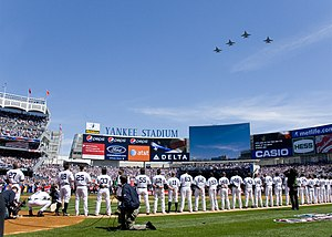 2009 Major League Baseball season - Four F-16s Fly Over the new Yankee Stadium on its Opening Day on April 16, 2009