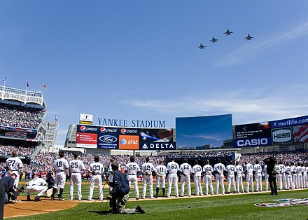 "Four F-16C Fighting Falcons from the 174th Fighter Wing fly over the ""New"" Yankee Stadium on Opening Day Yankee Stadium Opening Day Fly Over.jpg"